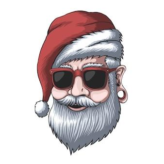 クリスマスにサンタの帽子をかぶった男
