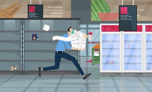 Supermaket에서 공황 쇼핑에서 외과 보호 의료 마스크를 착용하는 남자는 코로나 바이러스 위기로 인해 화장지를 대량으로 잡습니다. covid-19 전염병 개념.
