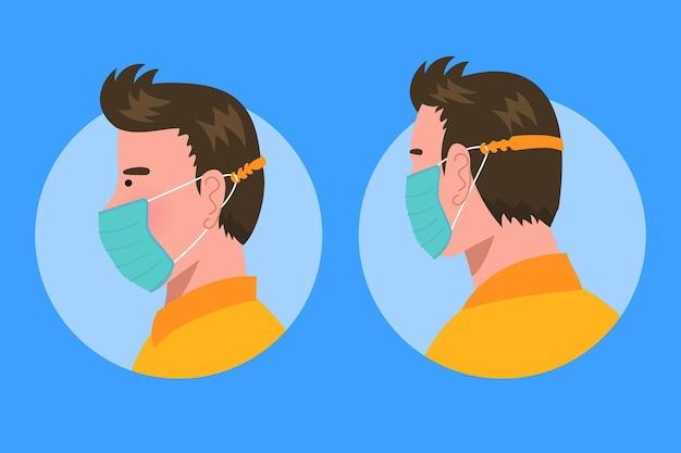 Uomo che indossa un cinturino per maschera facciale regolabile