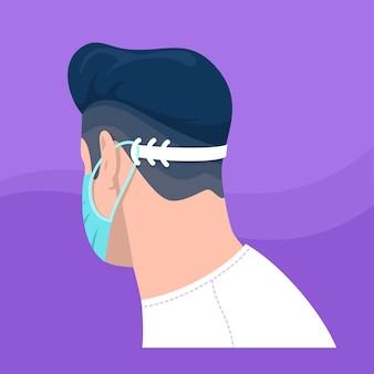 조절 가능한 안면 마스크 스트랩을 착용 한 남자