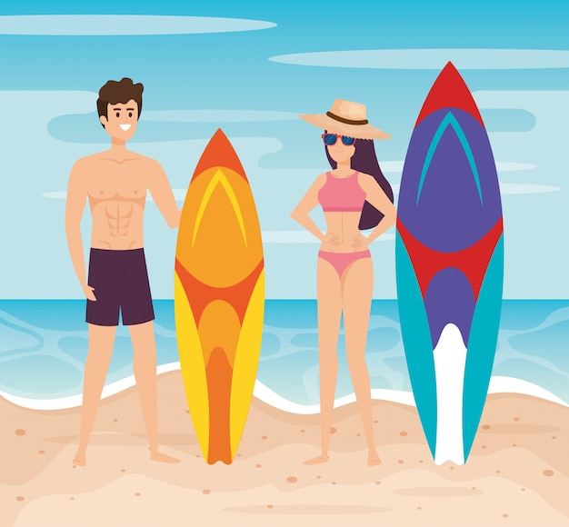 Man wearing bathing shorts with surfboard and woman wearing swimsuit with hat and sunglasses