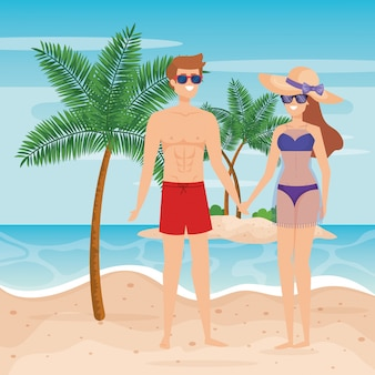 Man wearing bathing shorts and woman with swimsuit and sunglasses