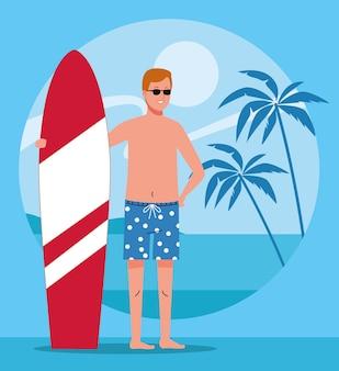 Человек, носящий пляжный костюм в персонаже доски для серфинга