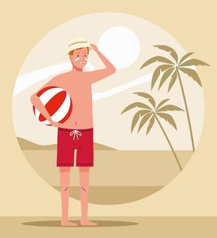 Человек в пляжном костюме с персонажем на воздушном шаре