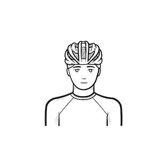 自転車のヘルメットの手描きのアウトライン落書きアイコンを身に着けている男。自転車設備、サイクリスト保護コンセプト