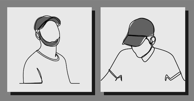 Man wearing a cap oneline art continuous line premium vector