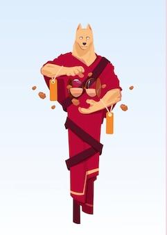 전통적인 기모노 중국 옷에 개 마스크를 착용하는 남자 잡고 모래 시계