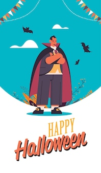 Man wearing dracula costume happy halloween party celebration concept lettering greeting card vertical full length vector illustration