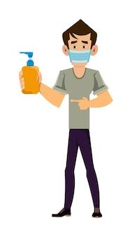 フェイスマスクを着用し、アルコールジェルボトルを示す男。 covid-19またはコロナウイルスの概念図