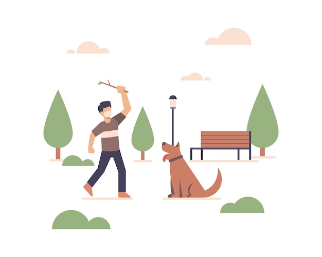 A man wearing a face mask and playing with his dog in open space public city park illustration