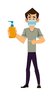 Man wearing face mask and showing alcohol gel bottle. covid-19 or coronavirus concept illustration