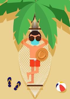 Человек в маске для лица, загорающий в гамаке с пальмами на переднем плане иллюстрации