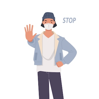 Man wearing face mask. young man showing gesture stop.
