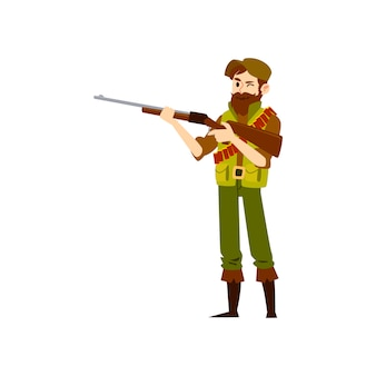 Man wearing in hat and vest and boots stands holding shotgun cartoon style