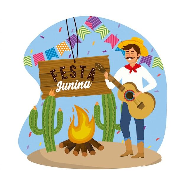 ギターとパーティーの帽子をかぶっている男