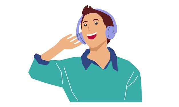 Человек в наушниках слушает музыку