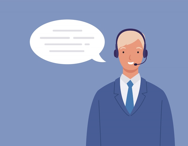 Man wearing a headset, the concept of customer service and communication. call center service job.