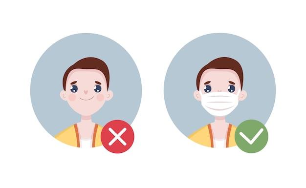Man not wearing mask avatar and man wearing mask illustration