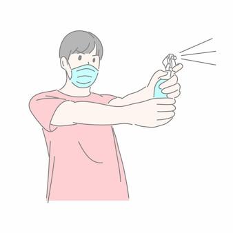 Мужчина в медицинской маске и использует спиртовой спрей для борьбы с концепцией covid-10.