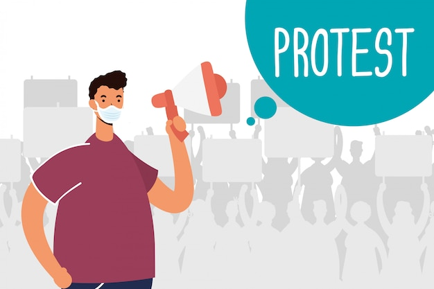 Man wearing medical mask protesting with megaphone illustration
