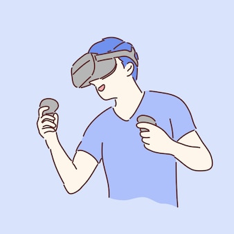 Man wearing and playing with vr gear.