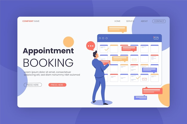 Man wearing a proper suit booking landing page