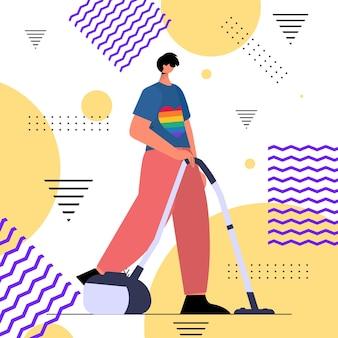 무지개 lgbt 티셔츠를 입은 남자 바닥을 청소하는 남자 트랜스젠더 사랑 가사 개념