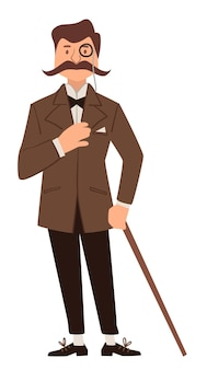 Man wearing suit, holding walking stick and glasses. elegant male personage from past, detective or businessman. noble descent of lad. vintage and old fashioned character, vector in flat style