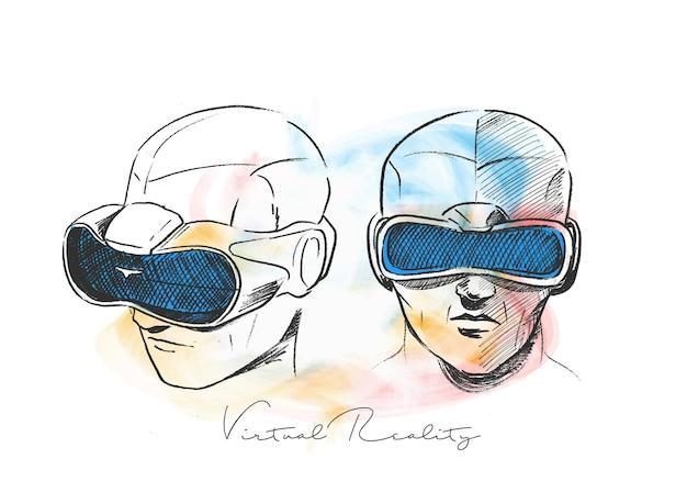 가상 현실 고글을 착용하는 남자 손으로 그린 스케치 벡터 일러스트 레이 션