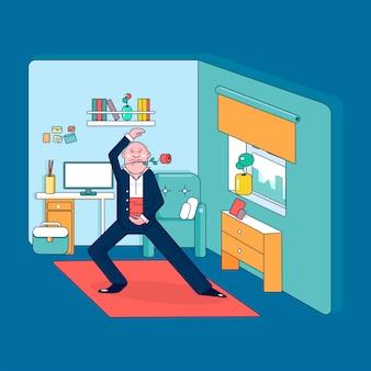 バーチャルリアリティヘッドセットを身に着けてタンゴを踊る男色ベクトル漫画フラットイラスト