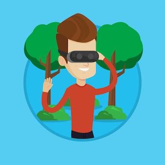公園で仮想現実のヘッドセットを着ている男。