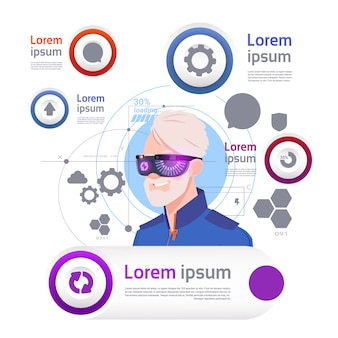 Man wearing vr glasses over set of template infographic elements virtual reality concept