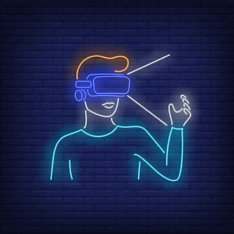 Man wearing vr headset neon sign