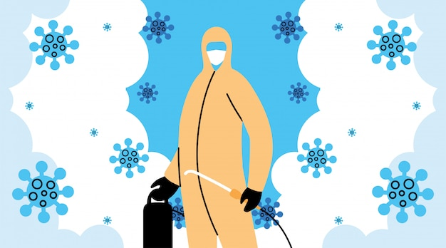 Человек носит защитный костюм, дезинфекция коронавирусом или ковидом 19