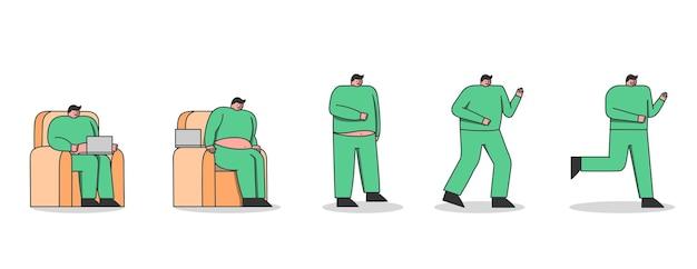 男性の減量の手順。怠惰な太った男がスリムな形に走って質量を失います。座りがちな生活の漫画のキャラクターがジョギングを開始し、フィットします。健康とフィットネスの概念。ベクトルイラスト