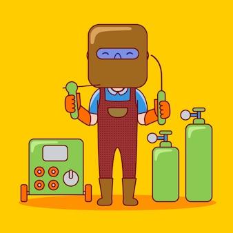 フラット漫画スタイルの男の溶接工の職業