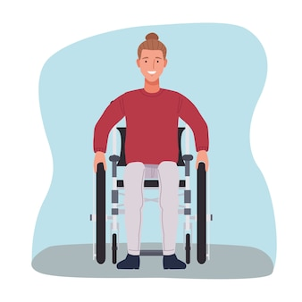 Man in wheelchair character icon