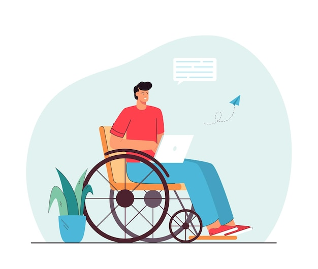Man in wheelchair communicating online. disabled male character holding laptop, sending messages, smiling.