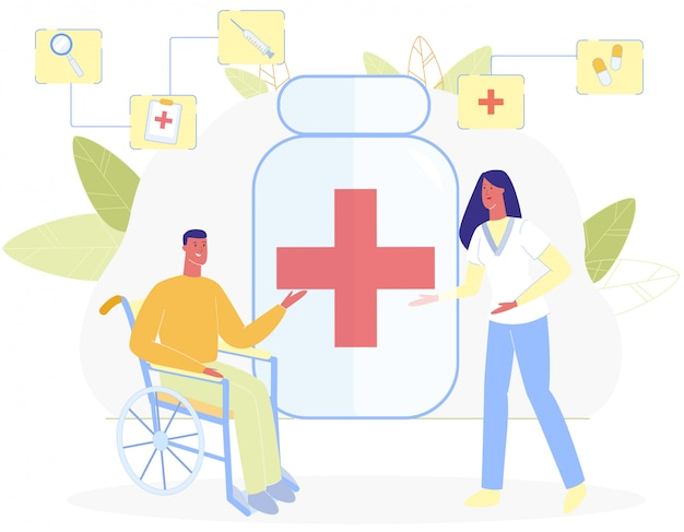 Man in wheelchair woman nurse red cross symbol