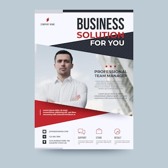 Man in white shirt business flyer template