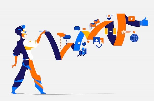 A man who plans a digital marketing strategy Premium Vector