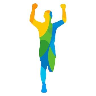 レースに勝つ男。ランナー正面図。抽象的なカラフルなベクトルイラスト。ポスター、ラベル、バナー、ウェブ用。白い背景で隔離