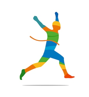 レースに勝つ男。ランナーの側面図。抽象的なカラフルなベクトルイラスト。ポスター、ラベル、バナー、ウェブ用。白い背景で隔離