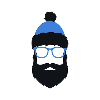 Man in winter blue hat glasses and with beard