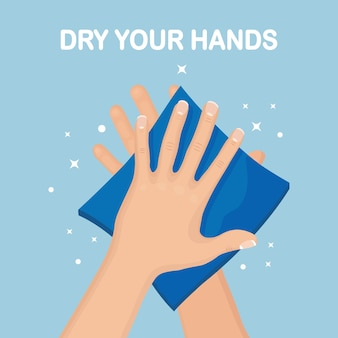Man wipe, dry clean hands with napkins, paper towel. hygiene, good habits concept.