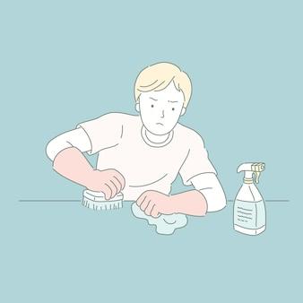 ラインスタイルのイラストでクレンザーでテーブルを拭く男
