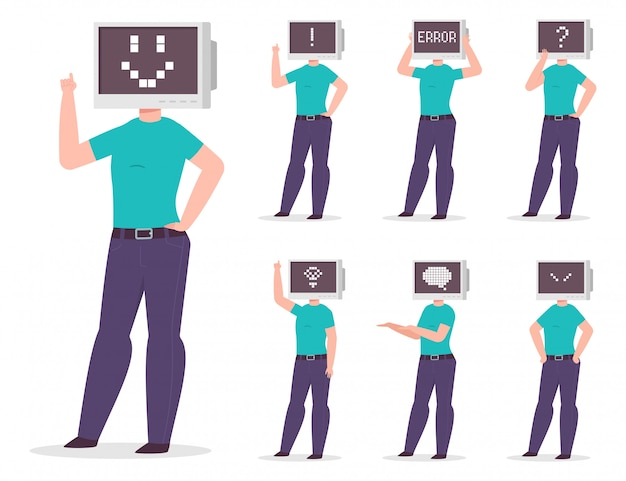 モニターにさまざまなピクセルの感情やサインがある頭ではなく、コンピューターを持つ男。分離されたベクトル漫画文字セット
