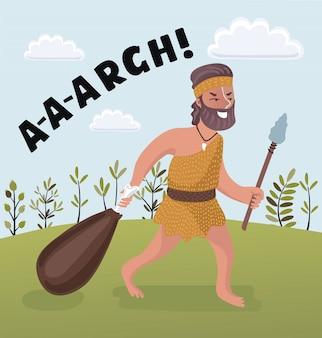 Человек с дубиной мультфильм иллюстрация первого троглодита homo sapiens в шкуре животных, живущих в каменном веке