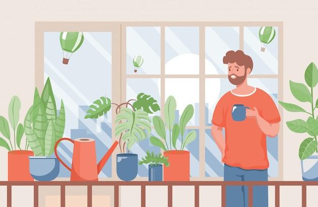 Человек с чашкой кофе или чая, стоящей на балконе плоской иллюстрации. летнее время и вид на городской пейзаж.