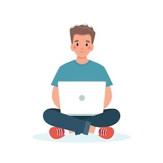 Человек с ноутбуком работает, студент или концепция удаленной работы
